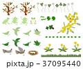 春の素材。カエルと小鳥のデザイン素材。春のイメージ。 37095440