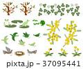 春の素材。カエルと小鳥のデザイン素材。春のイメージ。 37095441