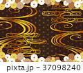 和柄の金と雲と菊の背景 37098240
