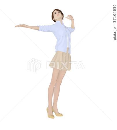 ポーズする女性 ファッション perming2DCG イラスト素材 37104650