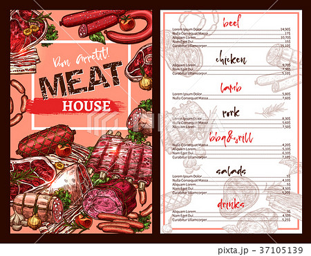 Vector price menu for meat house restaurant sketch 37105139