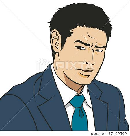働く男 鋭い目つき 画面右向きのイラスト素材 37109599 Pixta