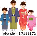 初詣 着物 和服のイラスト 37111572