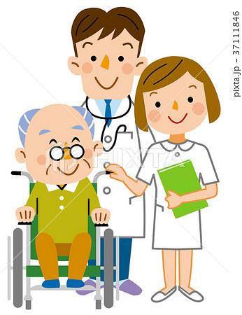 介護  お爺さんと医者と看護士 37111846