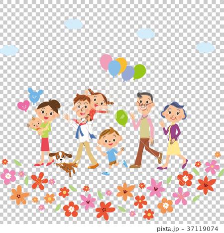 三代家庭走在花叢中 37119074