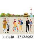 街を歩く 人々 京都 イラスト 37128062