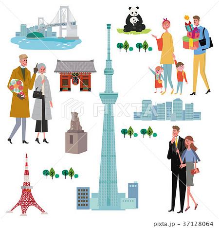 東京 人々 イラスト セット 37128064