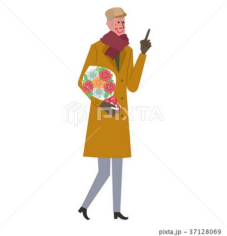 花束を持つ シニア 男性 イラスト 37128069