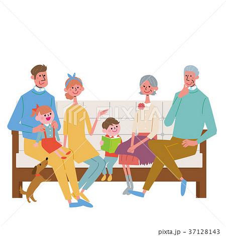 ソファに座る 三世代 家族 イラスト 37128143