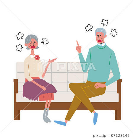 ソファに座る シニア 夫婦 イラスト 37128145