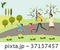 春 ハイキング イメージのイラスト 37137457