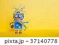 Friendly robot with microphone, singing song 37140778
