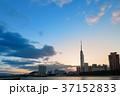 朝焼けの福岡市 37152833