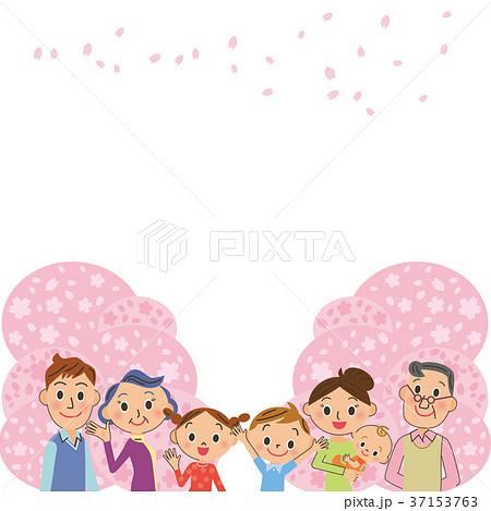 桜と三世代家族 37153763