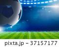 soccer ball above stadium with bright spotlights 37157177