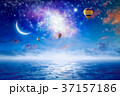 Hot air balloons in sky with stars, crescent moon 37157186