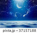 Crescent moon in night sky above snowy field 37157188