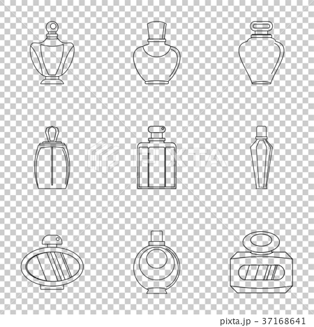 Perfume bottle form icon set, outline style - Stock Illustration