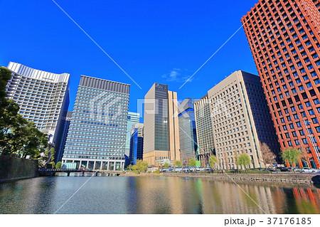 和田倉濠と高層ビル群 37176185