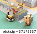 ラインから流れてきた荷物がロボットアームで無人搬送車AGVに運んでいる。スマート工場コンセプト 37178537