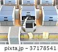 無人搬送車AGVがロボットアームで3Dプリンタから成型済の部品を取り出す。スマート工場のコンセプト 37178541