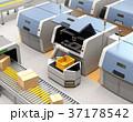 無人搬送車AGVがロボットアームで3Dプリンタから成型済の部品を取り出す。スマート工場のコンセプト 37178542