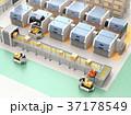 無人搬送車AGVがロボットアームで3Dプリンタから成型済の部品を取り出す。スマート工場のコンセプト 37178549
