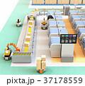 無人搬送車AGV、ロボットアーム、3Dプリンタなど装備されているスマート工場のコンセプト 37178559