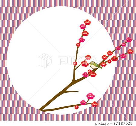 立春のイメージの背景アイコン和風春のイメージ 梅とウグイス 新春