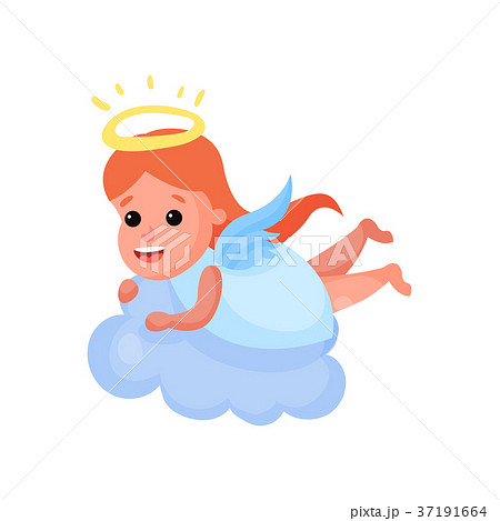 Lovely redhead little angel playing on a cloud 37191664
