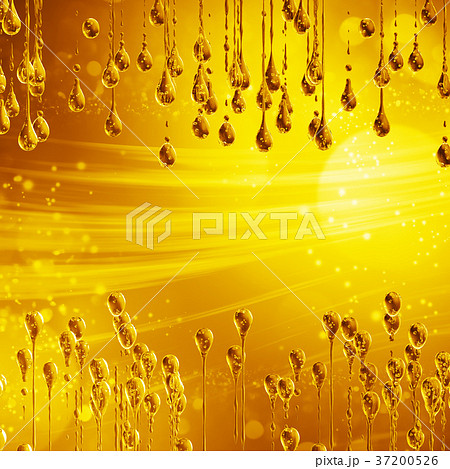 3D detailed illustration of a drop of water gold 37200526
