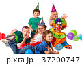 Birthday child clown playing with children. Kid 37200747