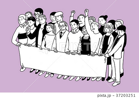 RF illustration - assembled people in front of some place, group. 011 37203251