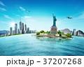 航空機 飛行機 ビルの写真 37207268