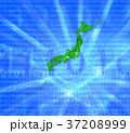 デジタルの海と緑の日本地図 37208999