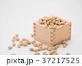 枡から溢れる節分の福豆 白背景 c-1 右寄せ 37217525