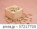 枡から溢れる節分の福豆 桃色の和紙の背景 c-2  左寄せ 37217720