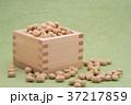 枡から溢れる節分の福豆 草色の和紙の背景 b-2  左寄せ やや横から 37217859