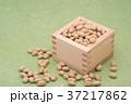 枡から溢れる節分の福豆 草色の和紙の背景 d-1  右寄せ やや上から 37217862