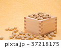 枡から溢れる節分の福豆 黄色の和紙の背景 b-1  右寄せ やや横から 37218175