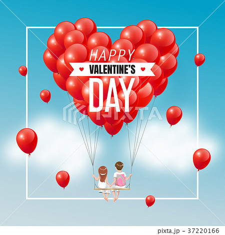 Couple on swing with group of red heart balloons 37220166