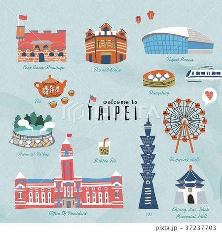 Lovely Taiwan travel symbols 37237703