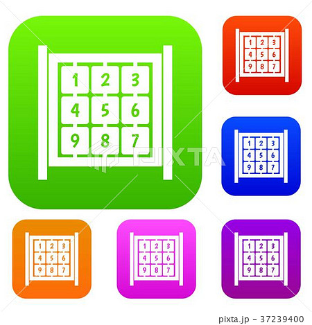 cubes with numbers on playground set collectionのイラスト素材