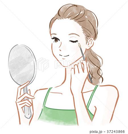 化粧する女性のイラスト素材 37243866 Pixta