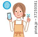 スマホの指紋認証をする女性 37250381