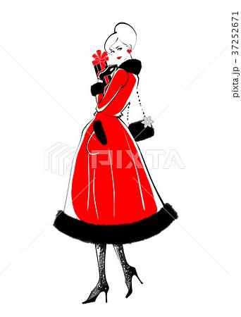 バレンタインの告白 赤ドレスのイラスト素材 [37252671] , PIXTA