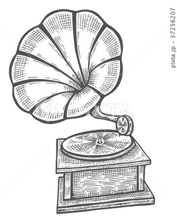 Hand drawn gramophone, sketch 37256207
