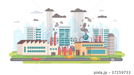 Cityscape with a factory - modern flat design 37259733