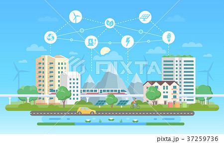Eco-friendly city - modern flat design style 37259736