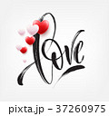 Love word hand drawn lettering with red heart 37260975